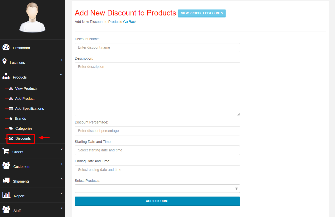 Add Discount to Products - Webcart