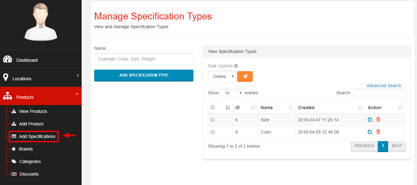 Adding Product's Specifications - Webcart