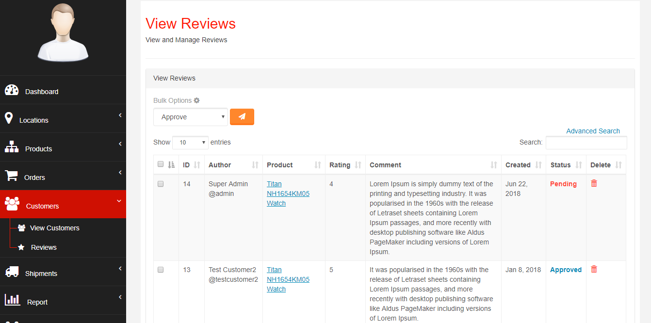 Approving Product's Ratings and Reviews - Webcart