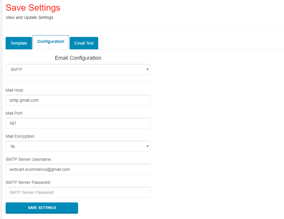 Email Configuration Settings - Webcart