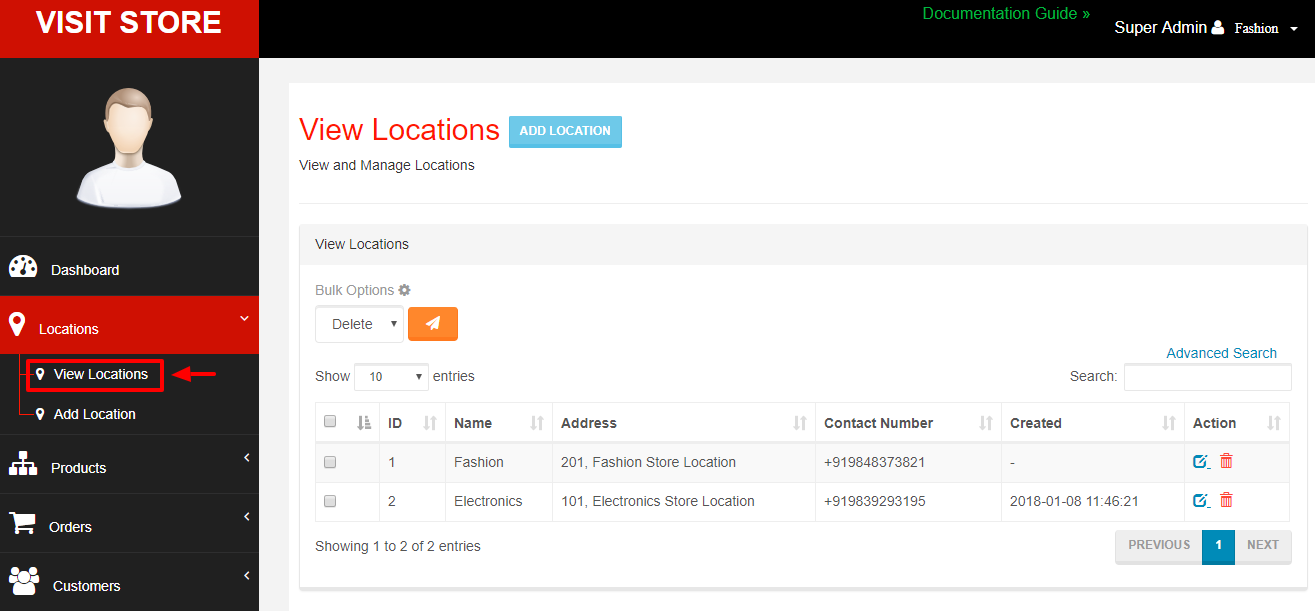 Settings Locations for Stores - Webcart