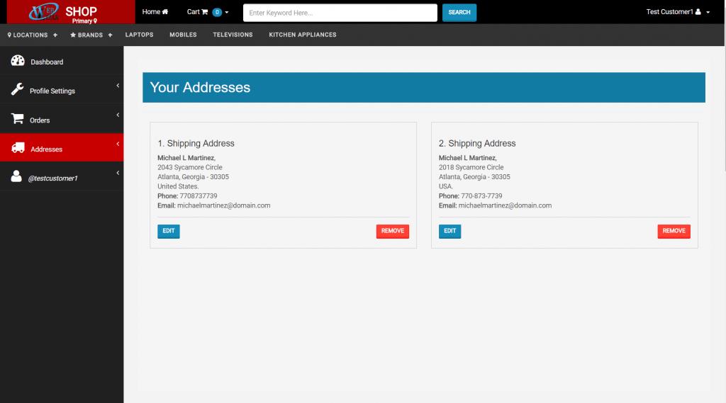 WEBCART SHIPPING ADDRESSES